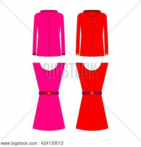 Pink And Red Women's Shirts With Long Sleeves And Long Sleeveless Dresses With Belt. Isolated Vector