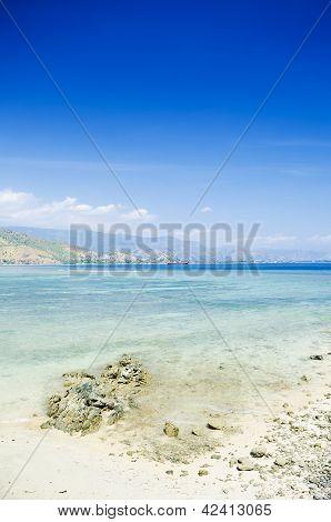 areia branca tropical beach near dili in east timor poster