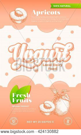 Fruits And Berries Yogurt Label Template. Abstract Vector Dairy Packaging Design Layout. Modern Typo