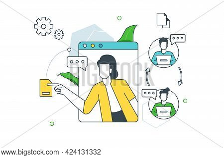 Communication And Synchronization Of Team Vector Illustration. Online Conference And Meeting On Lapt