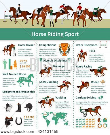 Horse Rising Infographics Flat Layout With Rodeo Carriage Driving Dressage Vaulting Advertising Vect