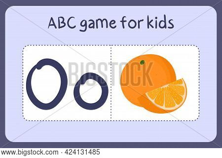 Kid Alphabet Mini Games In Cartoon Style With Letter O - Orange. Vector Illustration For Game Design