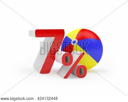 Seventy Percent Discount With Beach Ball Isolated On White. 3d Illustration