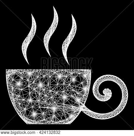 Bright Net Mesh Coffee Cup Framework With Glowing Spots. Illuminated Vector Mesh Created From Coffee