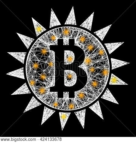 Bright Network Bitcoin Shine Frame With Bright Dots. Constellation Vector Carcass Created From Bitco