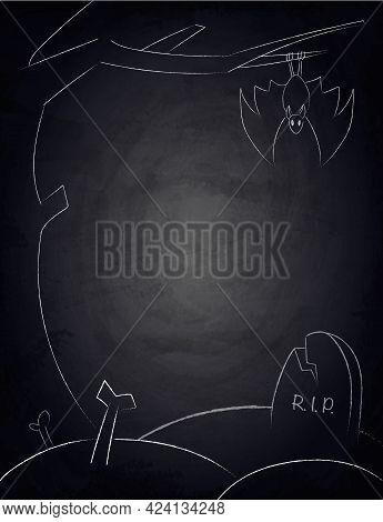 Chalkboard Blackboard Background For Halloween Design With Creepy Tree, Bat And Graveyard