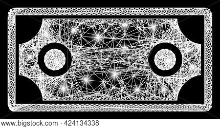 Shiny Crossing Mesh Banknote Template Model With Lightspots. Constellation Vector Model Created From