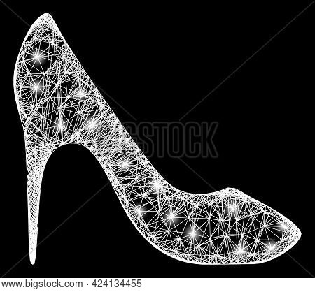 Shiny Crossing Mesh High Heel Shoe Carcass With Lightspots. Illuminated Vector Mesh Created From Hig