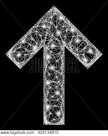 Shiny Net Mesh Up Direction Arrow Frame With Light Spots. Constellation Vector Structure Created Fro