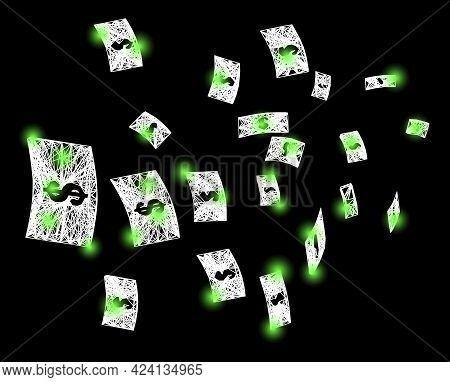 Glare Crossing Mesh Flying Dollar Banknotes Framework With Bright Dots. Illuminated Vector Framework
