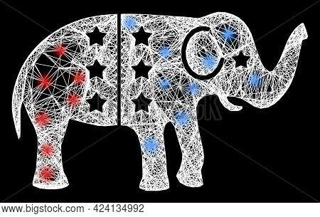 Bright Crossing Mesh American Democratic Elephant Model With Lightspots. Illuminated Vector Model Cr