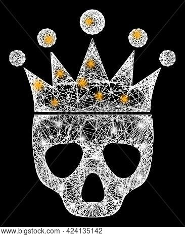 Glowing Net Mesh Dead King Frame With Light Spots. Illuminated Vector Frame Created From Dead King P