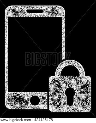 Shiny Net Mesh Locked Smartphone Model With Bright Dots. Illuminated Vector Model Created From Locke