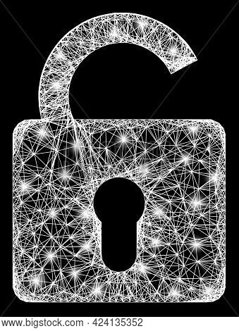 Bright Crossing Mesh Unlock Carcass With Glowing Spots. Constellation Vector Frame Created From Unlo