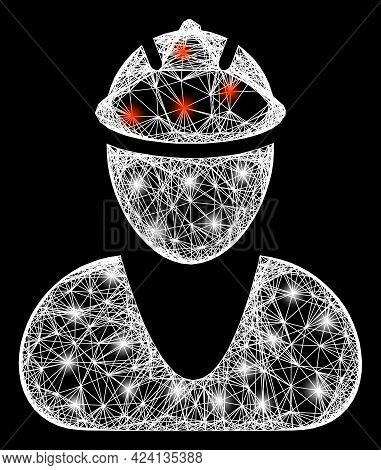 Shiny Crossing Mesh Worker Carcass With Bright Dots. Constellation Vector Carcass Created From Worke