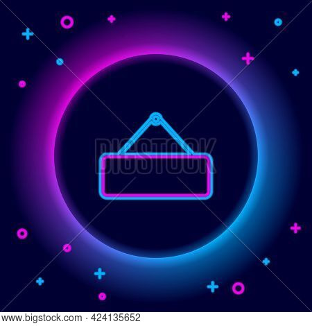 Glowing Neon Line Signboard Hanging Icon Isolated On Black Background. Suitable For Advertisements B