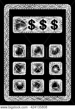 Glare Crossing Mesh Dollar Calculator Model With Light Dots. Illuminated Vector Frame Created From D