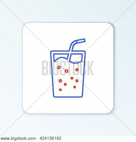 Line Glass With Water Icon Isolated On White Background. Soda Drink Glass With Drinking Straw. Fresh