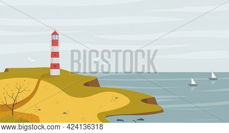 Lighthouse On Seashore With Sea View Landscape In The Autumn. Concept Vector Illustration In Flat St