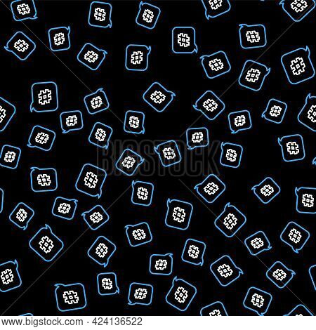 Line Hashtag Speech Bubble Icon Isolated Seamless Pattern On Black Background. Concept Of Number Sig