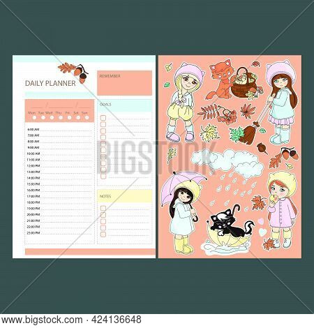 Autumn Daily Planner Stickers With Babies Printable Page Template Schedule And Collection With Desig