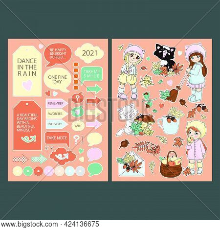 Autumn Stickers For Planner Printable And Cutting Plotter Elements Collection With Girls Cats Fruits