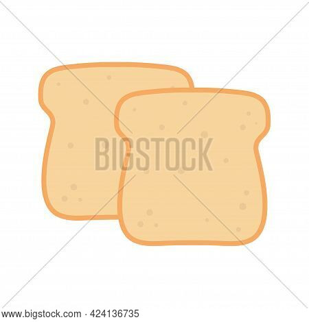 Vector Illustration Of Two Toast Bread Slices, Toast Icon Isolated On White Background, Flat Design