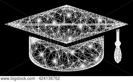 Shiny Crossing Mesh Graduation Cap Carcass With Lightspots. Constellation Vector Mesh Created From G