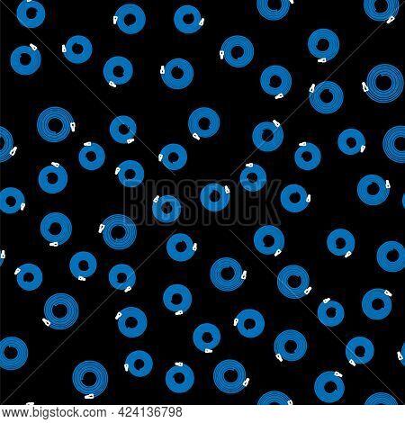 Line Garden Hose Or Fire Hose Icon Isolated Seamless Pattern On Black Background. Spray Gun Icon. Wa
