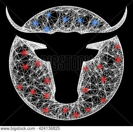 Flare Net Mesh American Cow Logo Wireframe With Bright Dots. Constellation Vector Mesh Created From
