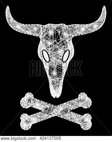 Glowing Crossing Mesh Dead Bull Bones Frame With Glowing Spots. Constellation Vector Model Created F