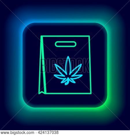 Glowing Neon Line Shopping Paper Bag Of Medical Marijuana Or Cannabis Leaf Icon Isolated On Black Ba