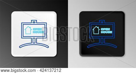 Line Hanging Sign With Text Open House Icon Isolated On Grey Background. Signboard With Text Open Ho
