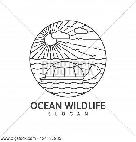 Ocean Wildlife Turtle Monoline Outdoor Nature Vector Illustration