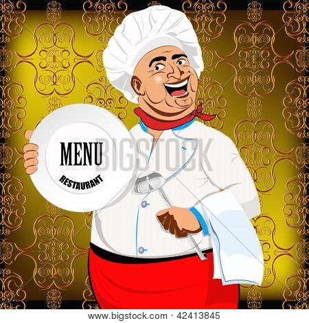 Eastern Chef and big plate on a abstract decorative background