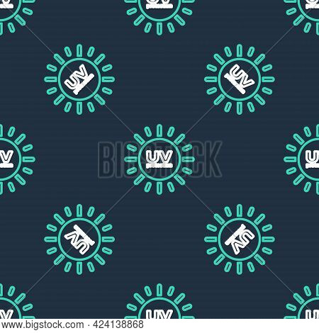 Line Uv Protection Icon Isolated Seamless Pattern On Black Background. Ultra Violet Rays Radiation.