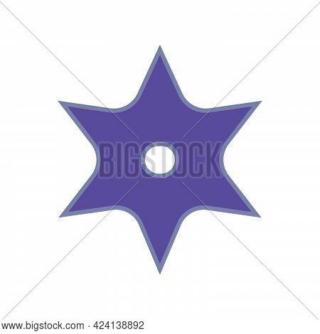 Ninja Throwing Star Weapon Vector Illustration Icon. Shuriken Symbol Ninja Star Steel Blade Isolated