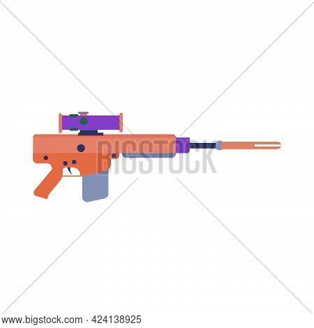 Weapon Rifle Gun Vector Military Army Handgun Illustration. War Rifle Firearm Black Hunting Sniper T
