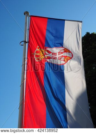 Serbian Flag Waving On The Wind, Suitable To Use It Is Flag Background