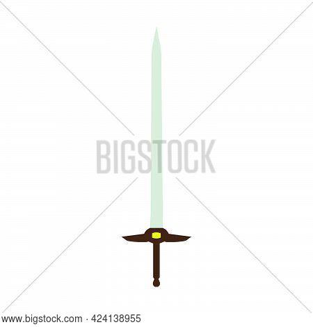 Sword Antique Weapon Vector Illustration Medieval Sharp Blade Icon. Isolated Sword Knight Fantasy Ba