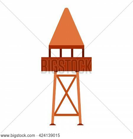 Tower Observation Vector Illustration Building Architecture. Outdoor Tower Observation Security Stat