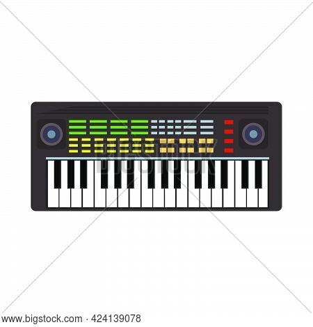 Music Synthesizer Instrument Vector Illustration. Musical Sound Synthesizer Key Equipment Keyboard A