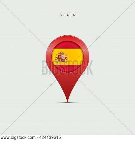 Teardrop Map Marker With Flag Of Spain. Spanish Flag Inserted In The Location Map Pin. Vector Illust