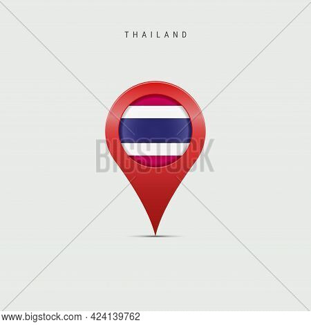 Teardrop Map Marker With Flag Of Thailand. Thai Flag Inserted In The Location Map Pin. Vector Illust