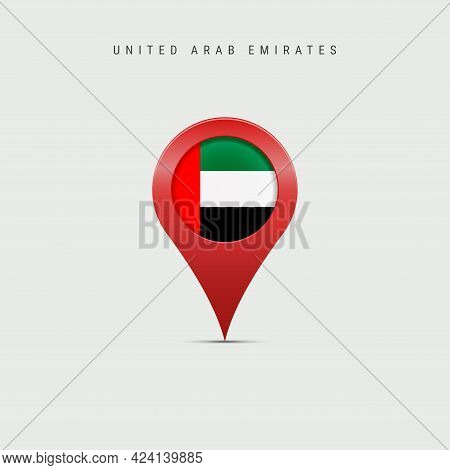Teardrop Map Marker With Flag Of United Arab Emirates. Uae Flag Inserted In The Location Map Pin. Ve