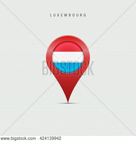 Teardrop Map Marker With Flag Of Luxembourg. Luxembourgish Flag Inserted In The Location Map Pin. Ve