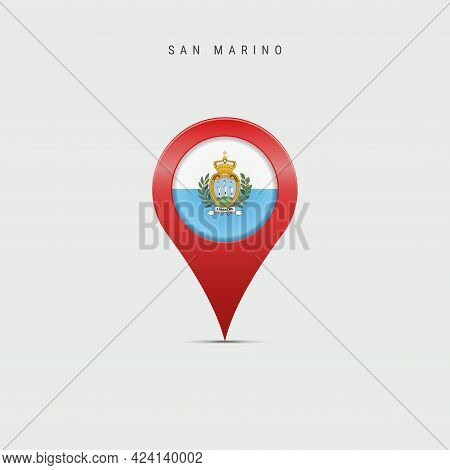 Teardrop Map Marker With Flag Of San Marino. Most Serene Republic Flag Inserted In The Location Map