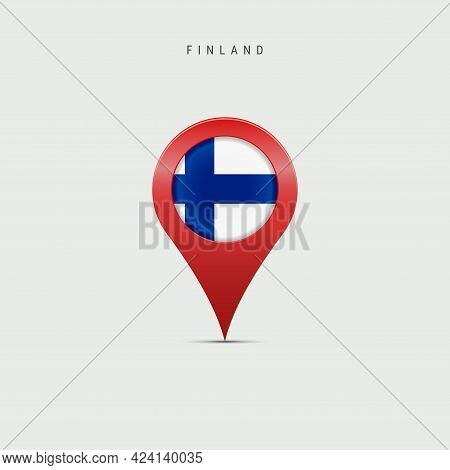 Teardrop Map Marker With Flag Of Finland. Finnish Flag Inserted In The Location Map Pin. Vector Illu