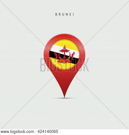 Teardrop Map Marker With Flag Of Brunei. Brunei Flag Inserted In The Location Map Pin. Vector Illust