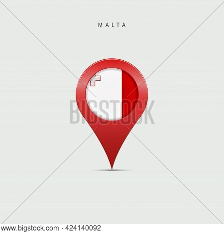 Teardrop Map Marker With Flag Of Malta. Maltese Flag Inserted In The Location Map Pin. Vector Illust